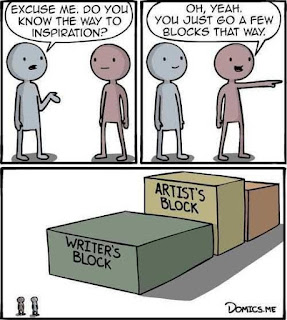 'Excuse me, do you know the way to inspiration?' 'Oh yeah, you just go a few blocks that way.' People look at huge blocks labelled 'writer's block' and 'artist's block'.