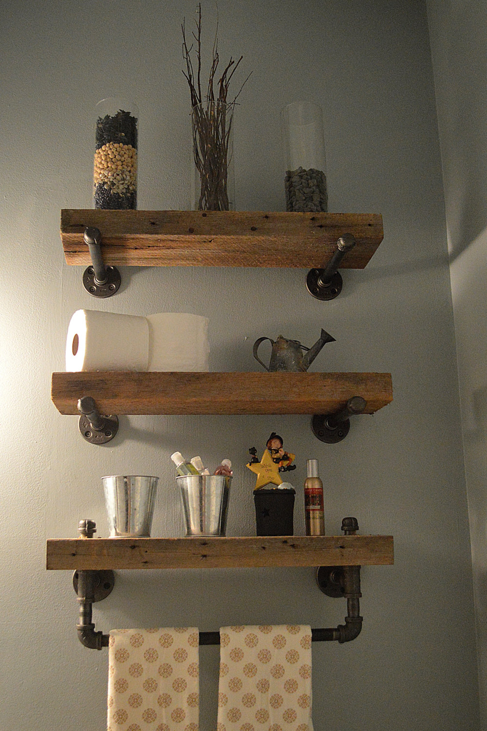 These Shelves Are Another Simple And Effective Rustic Bathroom Idea Plumbing Hardware Pipes Embled Installed As The Brackets For