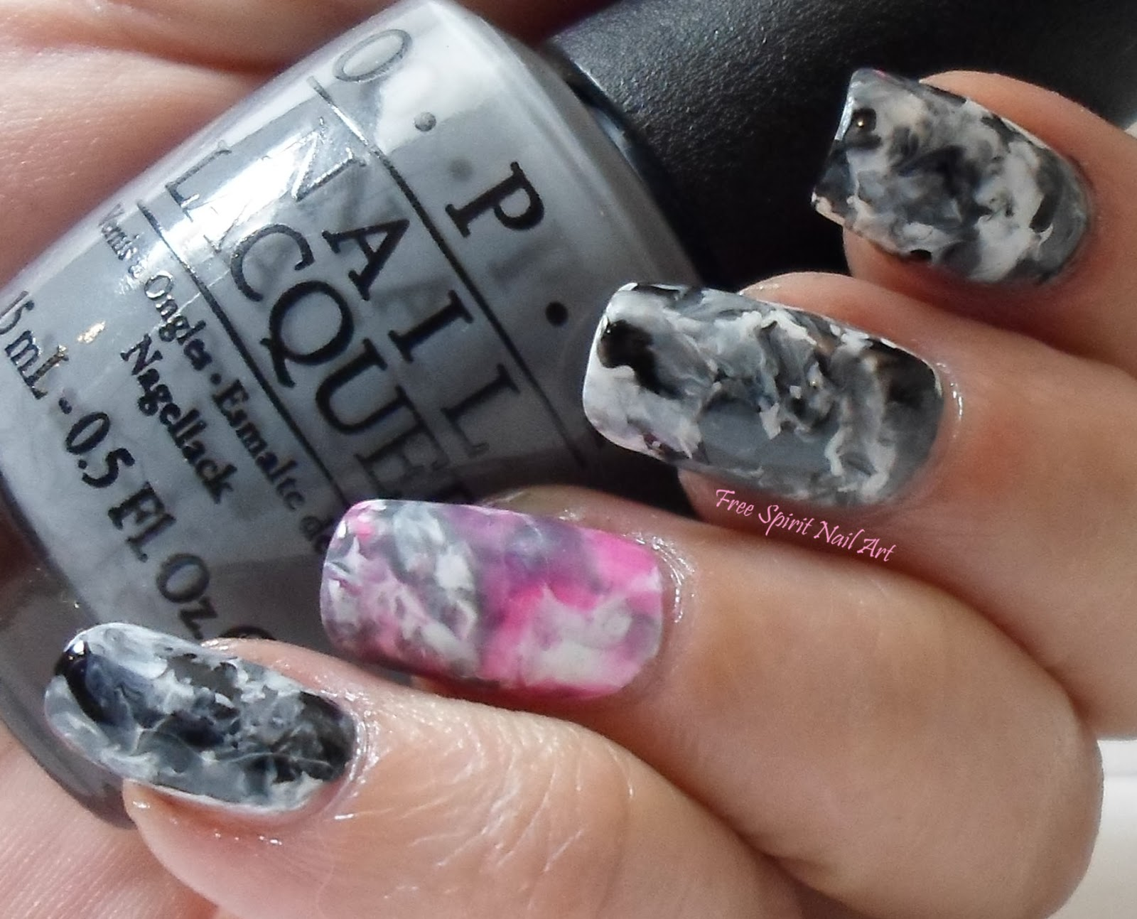 Free Spirit Nail Art Gray Marbled Stone Mani With Neon Accent Nail