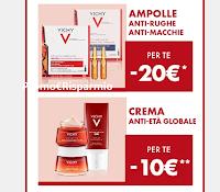 Logo Vichy Liftactiv Specialist  : sconto di 20€ per Ampolle Antirughe e di 10€ Crema Anti età e operazioni cashback