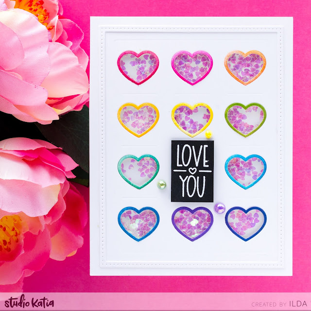 Valentine's Day Card, Rainbow, Heart Cards, Studio Katia, Card Making, Stamping, Die Cutting, handmade card, ilovedoingallthingscrafty, Stamps, how to,Ink Blending,Atelier Inks,