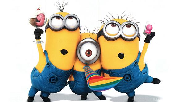 tres minions con colores de la bandera gay