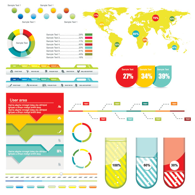 Vector colorful World map website Menu and 3d pie chart infograhpic design elements