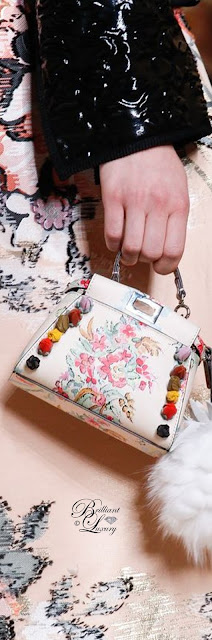Brilliant Luxury  ♦Fendi Micro Peekaboo Floral Appliqué Leather Satchel
