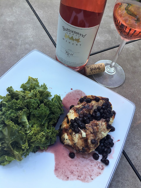 2019 Buttonwood Grove Winery Rose Cabernet France pairing with Grilled Chicken in blueberry sauce