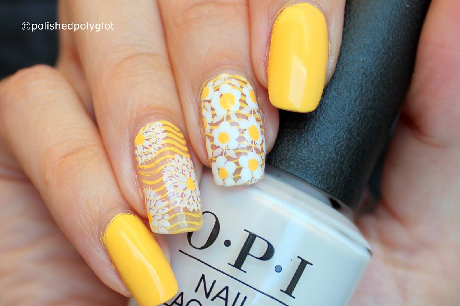 Nail Art Yellow And White Manicure With Daisies Polished Polyglot