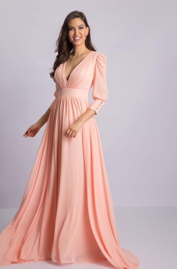 vestido longo pêssego para madrinha de casamento dia