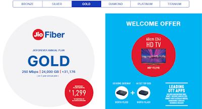 jio fiber gold welcome offer