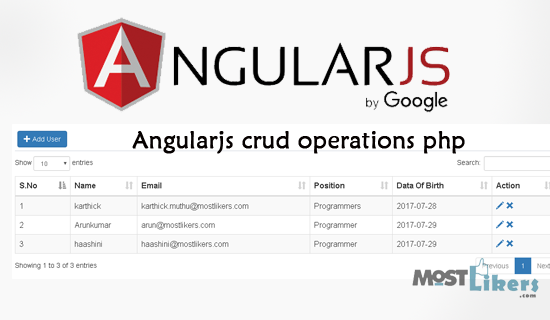 AngularJS Add,Edit,Update,Delete using Bootstrap modal with