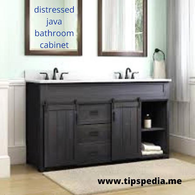 distressed java bathroom cabinet