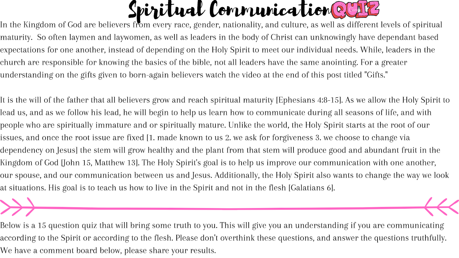 Online Quiz: Is your communication Spiritually mature?