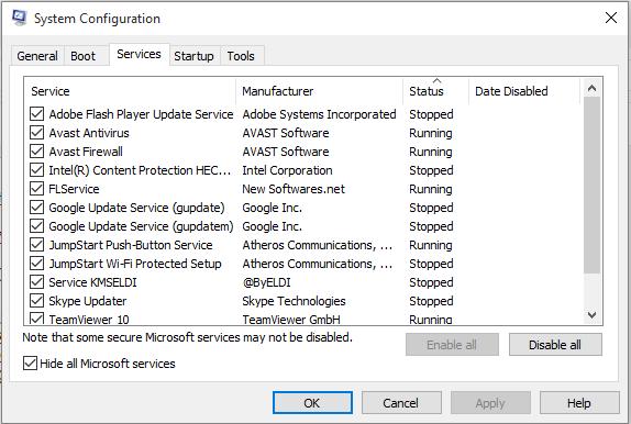 Ẩn hết các dịch vụ của Windows