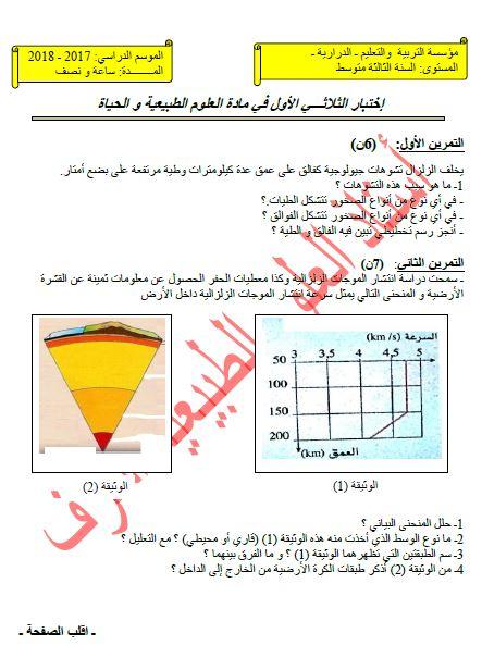 اختبار الفصل الاول في العلوم الطبيعية للسنة الثالثة متوسط للجيل الثاني للاستاذ اشرف