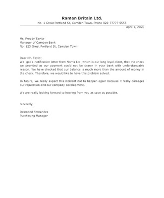 Complaint Letter to Bank