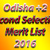 Odisha +2 e-Admission Second Selection Merit List 2016