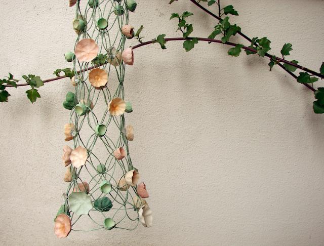 lampade di carta , macramè moderno, green design, paper art,  textile art