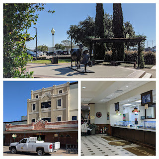A collage of three photos show a statue of the Blue Bell logo in the garden, the front of the creamery factory, and the ice cream store counter inside the building.