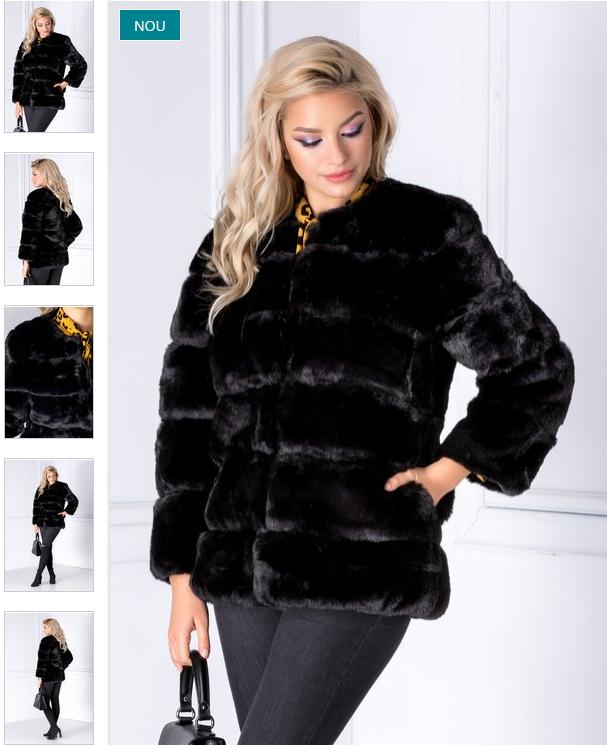 Blanita dama la moda de iarna eleganta neagra pret mic
