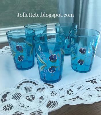 Julia Slade's blue enameled optic glasses https://jollettetc.blogspot.com