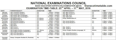 neco bece time table