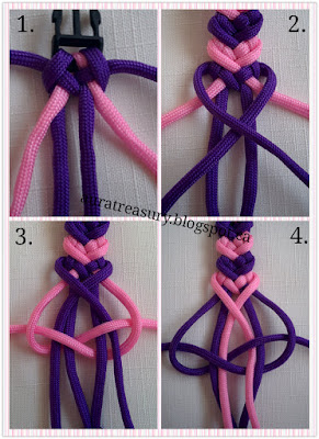 steps by steps on making valentine's paracord bracelet