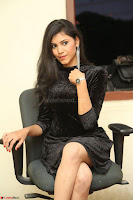 Mounika in a velvet short black dress for Tick Tack Movie Press Meet March 2017 015.JPG