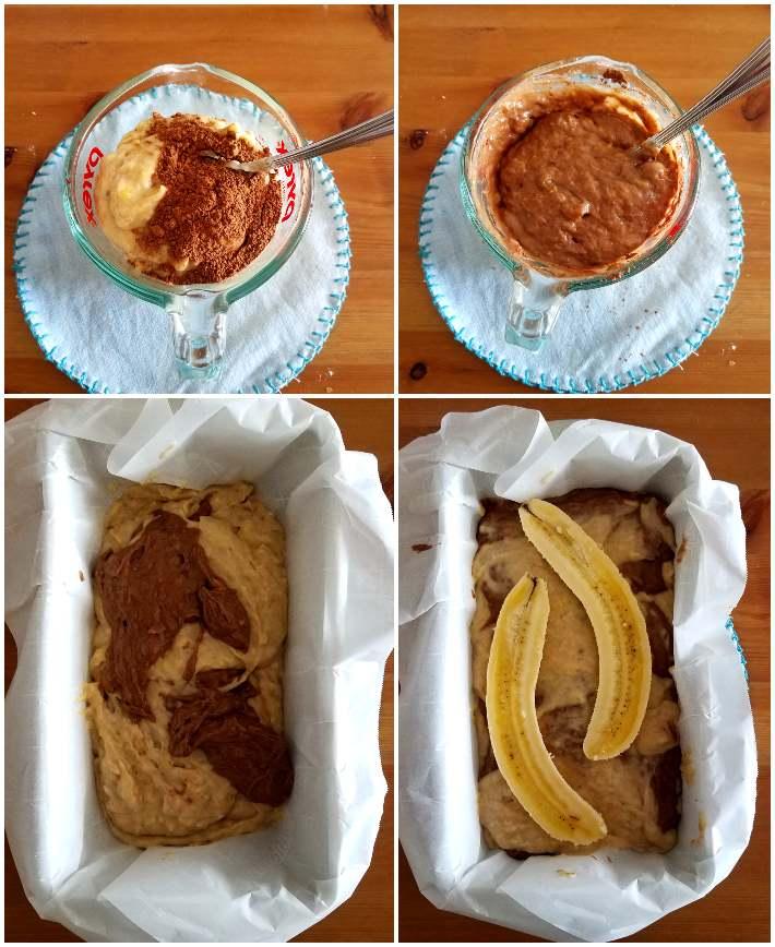La mezcla de banana y chocolate se alternan para hacer el efecto marmoleado
