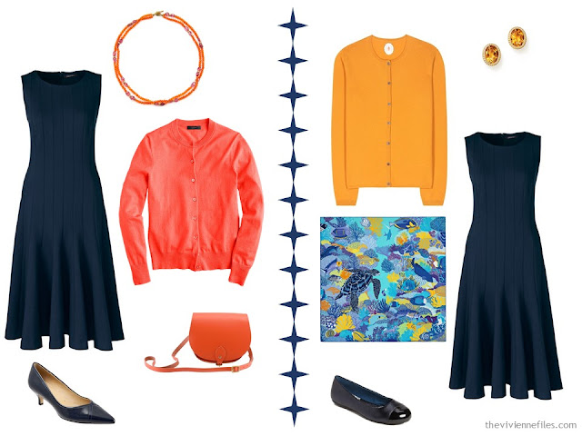 2 ways to wear a navy dress with coral or orange accessories