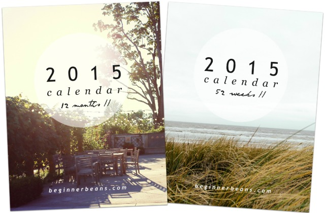 2015 Weekly + Monthly Printable Calendars