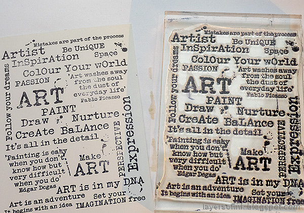 Layers of ink - Lighthouse Tag with crackle paste and mica flakes by Anna-Karin Evaldsson. Make Art stamp.