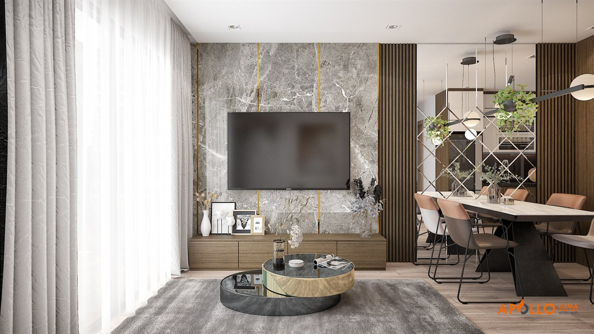 Thiết kế nội thất căn hộ 55m2 (2PN+1) Vinhomes Ocean Park