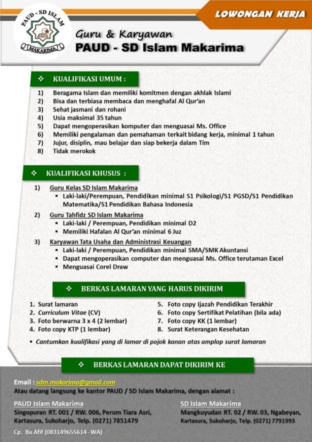Lowongan Guru dan Karyawan PAUD & SD Islam Makarima Sukoharjo