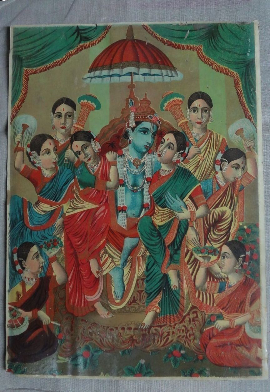 Krishna with Gopies - Vintage Lithograph Print