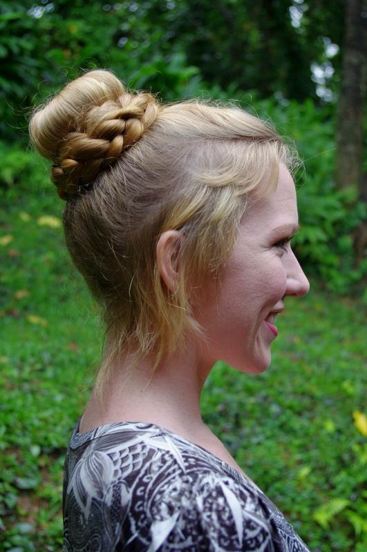 braids hairstyles  super long hair high sock bun