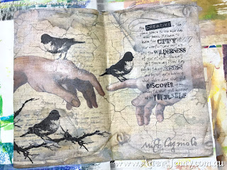 overview of stamped branches - art journal page by Jenny James featuring Tim Holtz Stamps