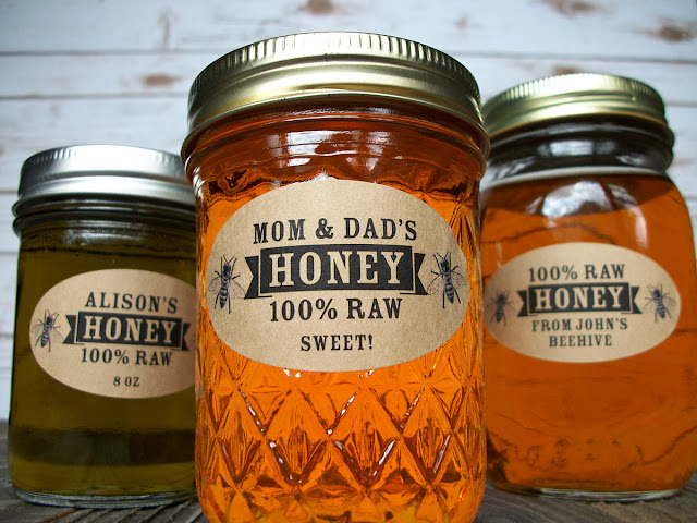 Custom Kraft Oval Honey Mason Jar Labels