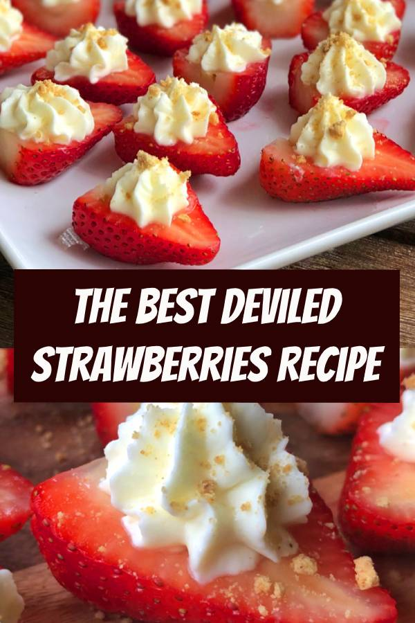 These sweet cream cheese stuffed strawberries are the most delightful finger food for just about any party. They're also fun for holiday! #fingerfood #partyfood #holidayrecipes #cheesecake #strawberries