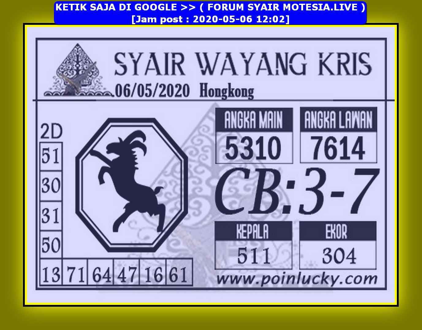 Kode syair Hongkong Rabu 6 Mei 2020 259