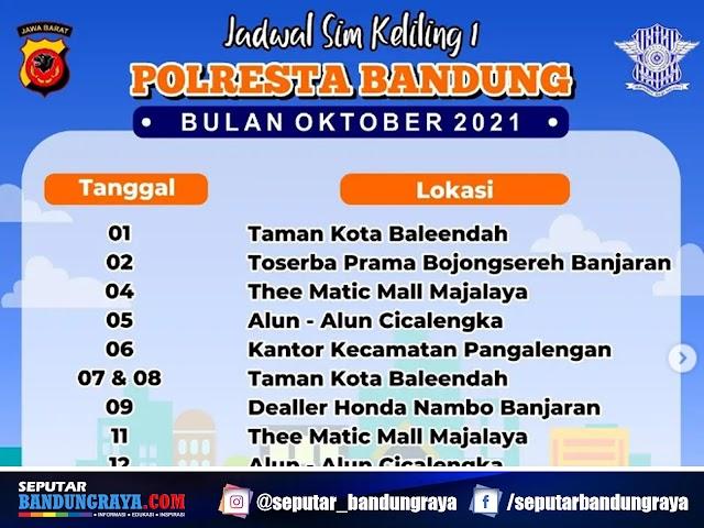 Jadwal Layanan SIM Keliling Polresta Bandung Bulan Oktober 2021
