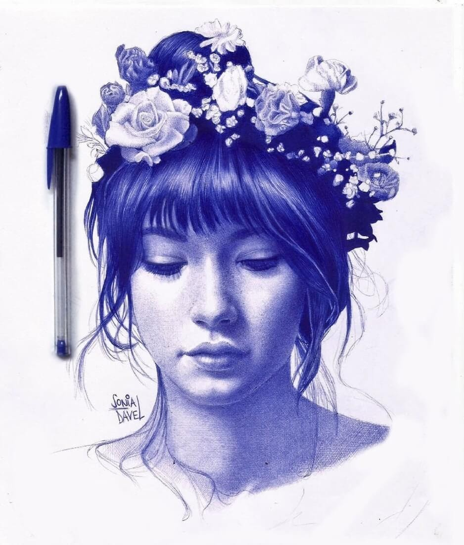 09-Flower-Band-Sonia-Davel-Indelible-Ballpoint-Pen-Portraits-www-designstack-co