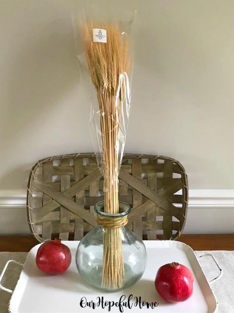 wheat decor fall nature pomegranates pine cones tobacco basket