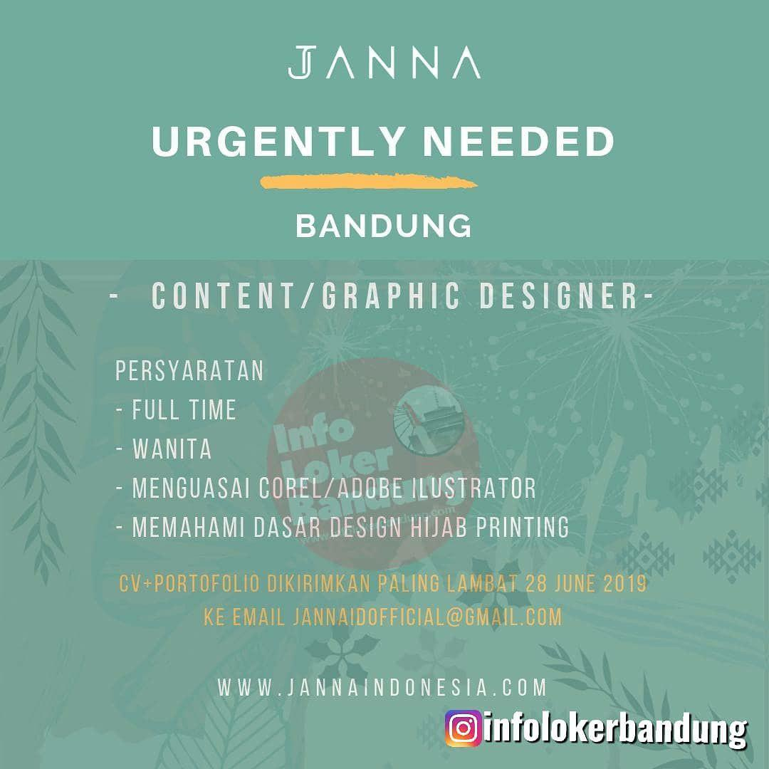 Lowongan Kerja Content / Graphic Designer Janna ID Bandung Juni 2019
