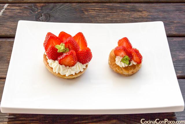fresas con nata y hojaldre sin gluten
