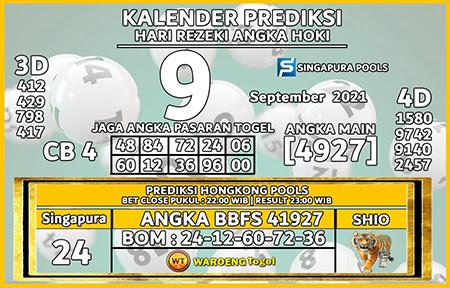 Kalender Prediksi SGP Kamis 09 September 2021