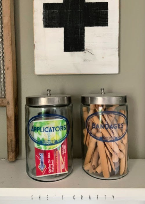 New uses for vintage goods in home decor  | doctors office jars for clothespins and bathroom essentials