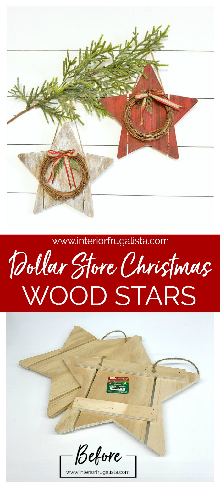 Dollar Store Christmas Wood Stars Before and After