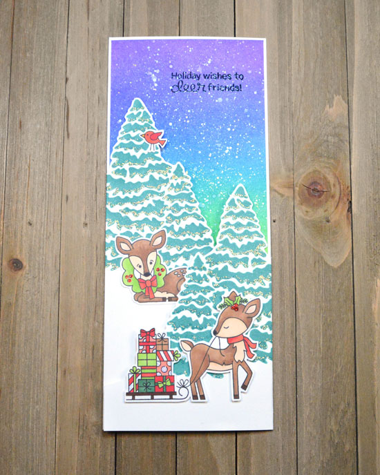 Deck the Halls with Inky Paws Week - Day 3 - Chari Moss | Tri Fold Winter Scene Card using Festive Fawns Stamp Set and Evergreens Stencil by Newton's Nook Designs #newtonsnook #handmade
