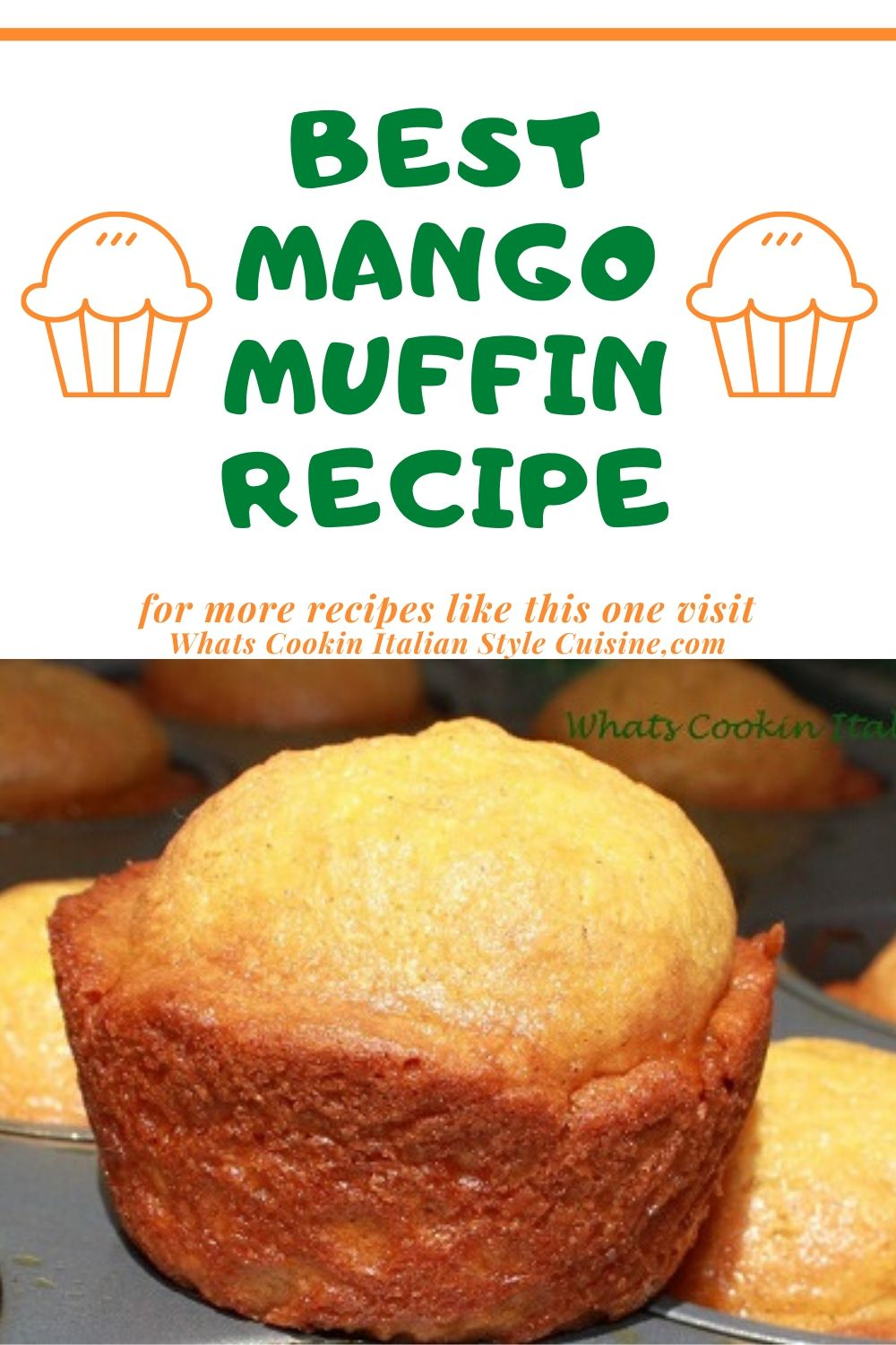 These are muffins baked with a tropical mango chopped fruit inside. The muffins are in cupcake tins cooling