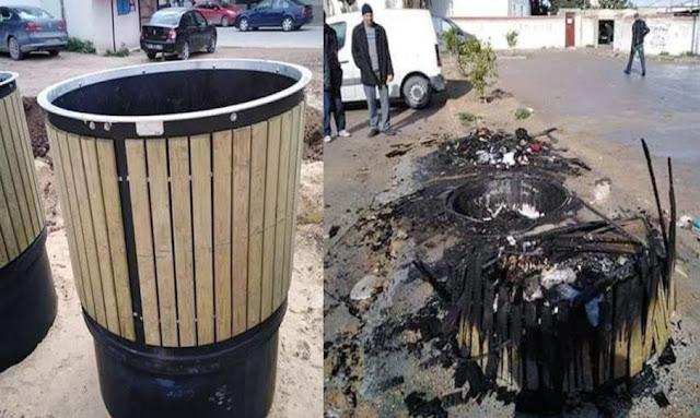 المروج : تخريب و حرق حاويات قمامة جديدة تكلفتها 18 الف دينار بعد ساعات من تركيزها