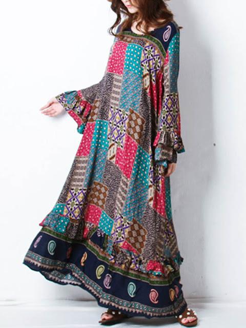 Women Bohemian Printed Long Sleeve Maxi Dresses